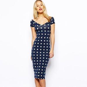 ASOS navy polka dot dress